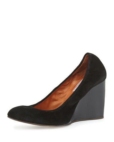Velvet Suede Ballerina Wedge Pump, Black