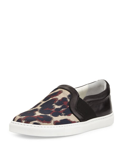 Leopard Jacquard & Leather Skate Sneaker, Beige/Black
