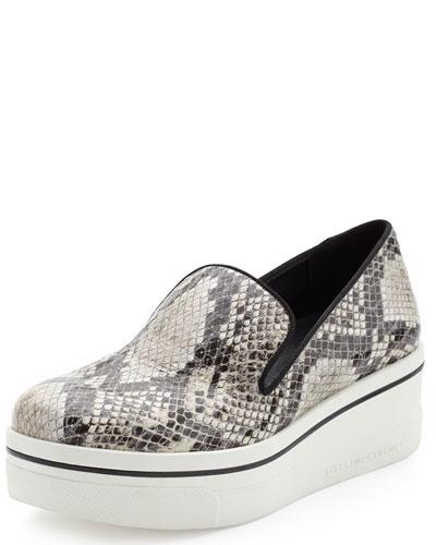 Snake-Embossed Sneaker-Style Loafer