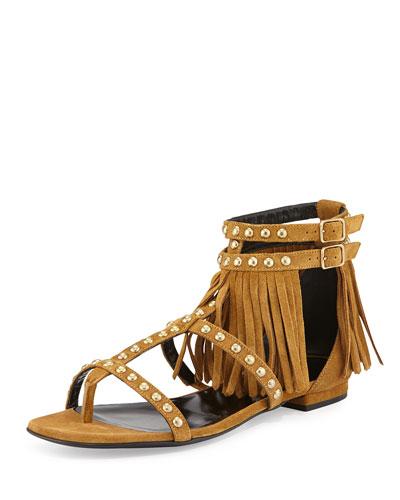 Studded Fringe Suede Flat Sandal, Tan
