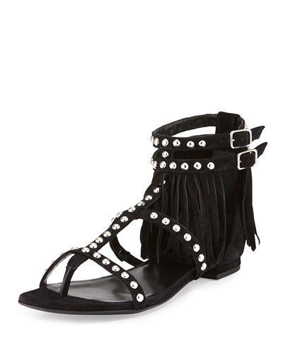Studded Fringe Leather Flat Sandal, Black