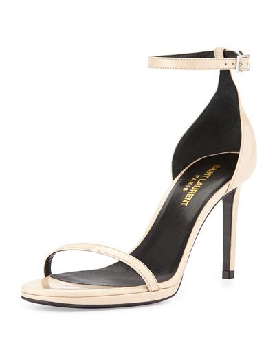 Patent Ankle-Strap Sandal, Nude Powder