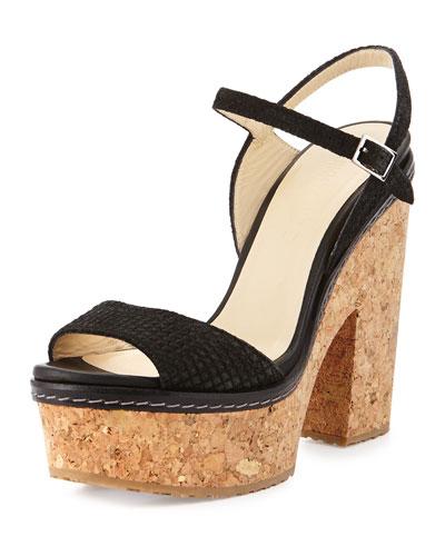 Naylor Textured Suede Platform Sandal, Black