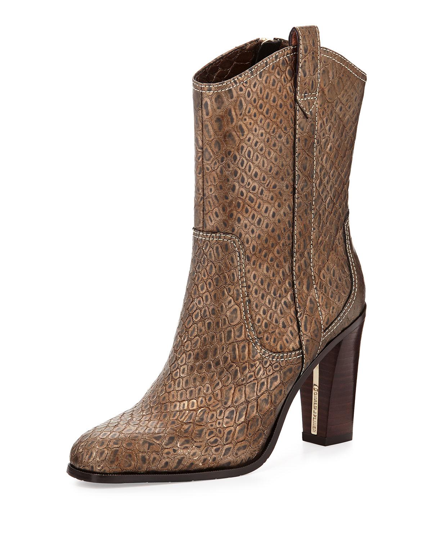Olivia Cobra-Embossed Western Boot, Platino