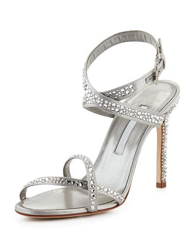 Kolebibi Satin & Strass Evening Sandal, Silver