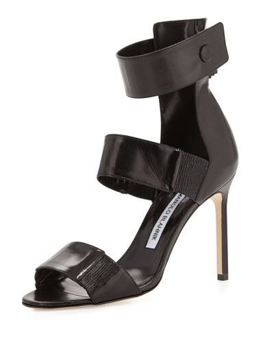 Mielozela Three-Strap High-Heel Sandal, Black
