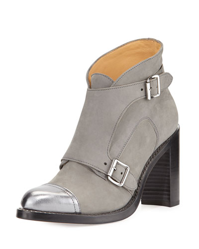 Mrs. Colin Suede Double-Monk Boot, Gray/Silver