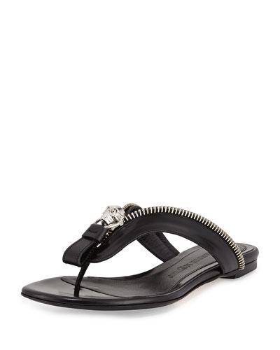 Skull-Zip Thong Sandal, Black