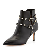 Rockstud Napa Leather 65mm Ankle Boot, Black