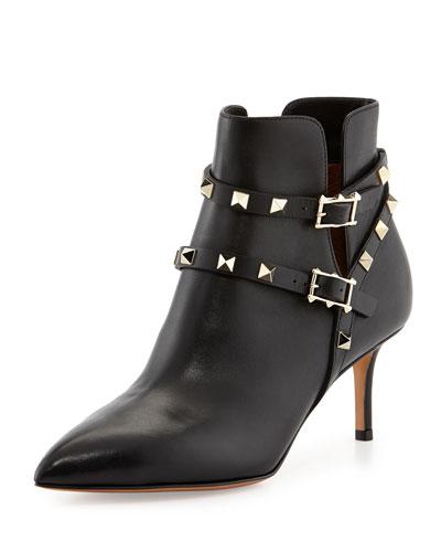 Rockstud Napa Leather 65mm Ankle Boot, Black