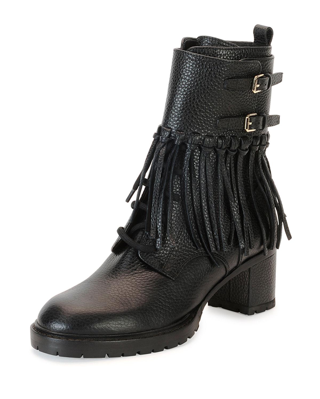 Tassel Leather Combat Boot, Nero
