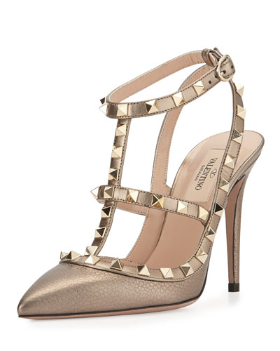 Rockstud Metallic Leather Pump, Sasso