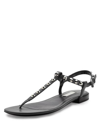 Studded Leather Thong Sandal