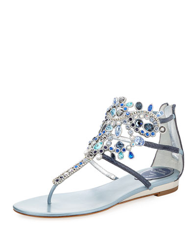 Crystal-Chandelier Thong Sandal, Mixed Blue