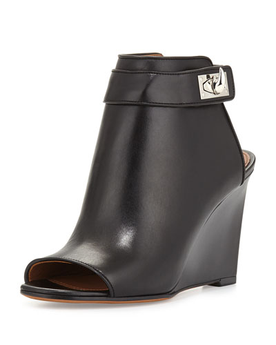 Shark-Lock Wedge Bootie, Black