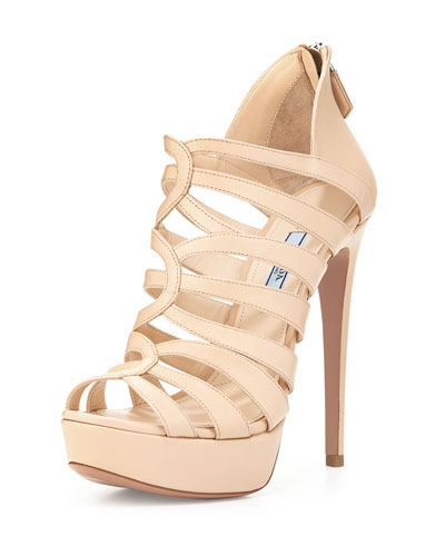Strappy Cage High-Heel Sandal, Cipria