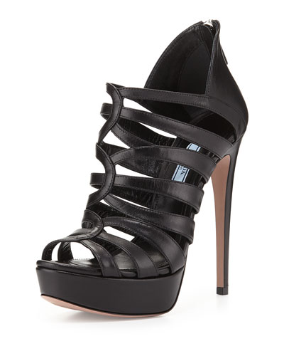 Strappy Cage High-Heel Sandal, Nero