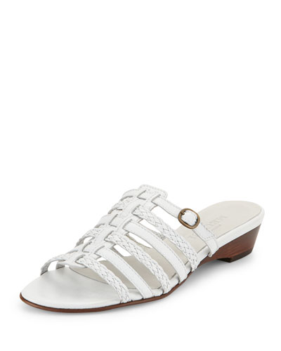 Greer Strappy Woven Sandal, White
