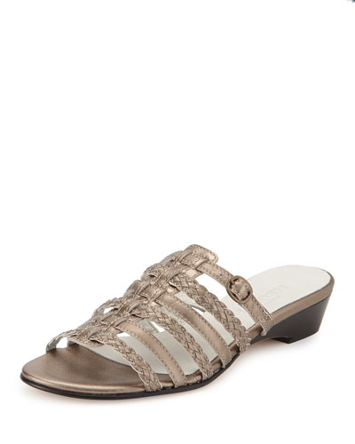 Greer Strappy Woven Sandal, Pewter