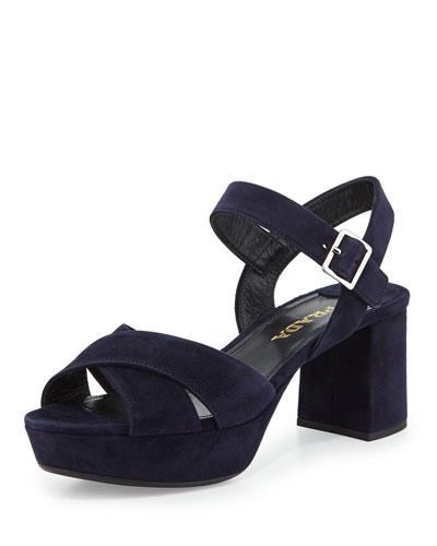 Crisscross Suede Platform Sandal, Bleu
