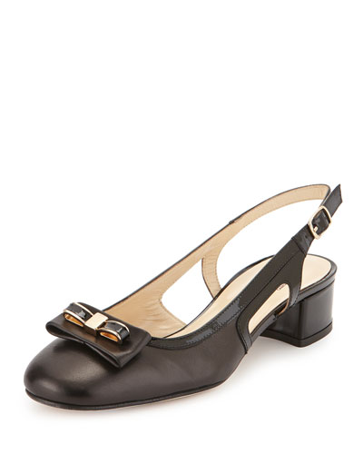 Doreen Slingback Bow Pump, Black