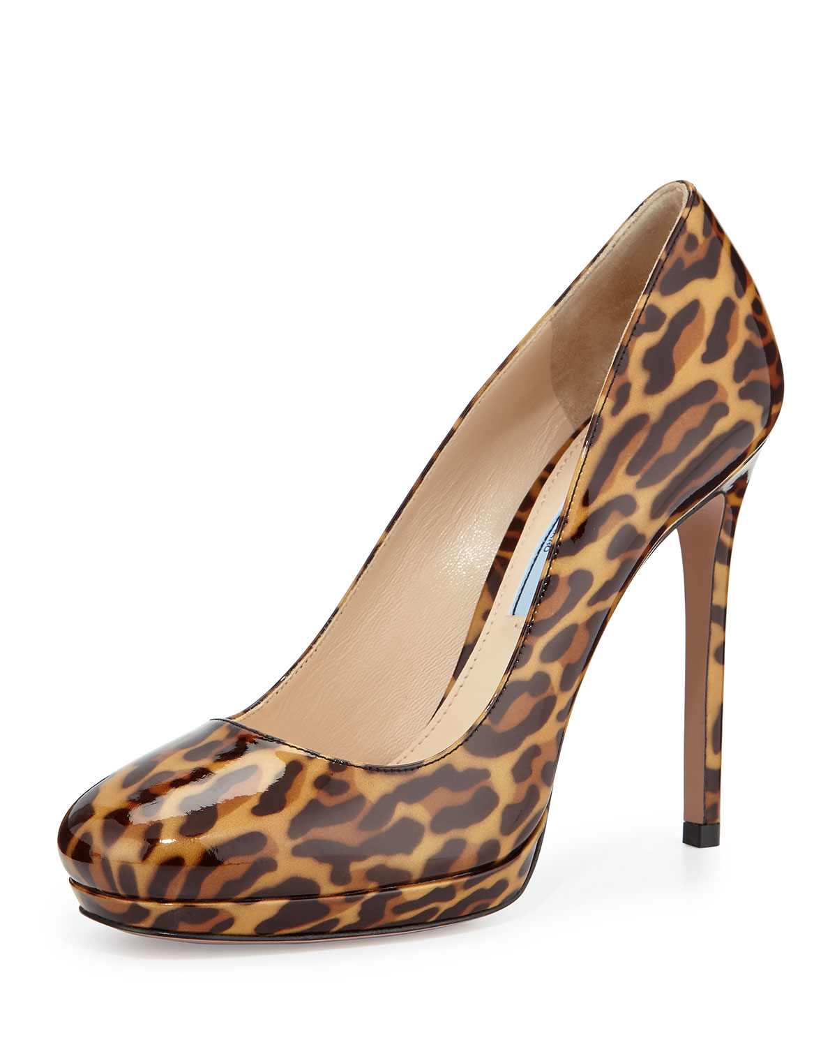 Leopard Patent Leather Platform Pump, Leopard