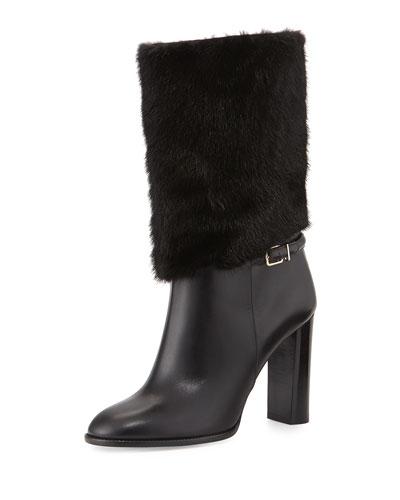 Marlington Fur-Cuff Boot, Black