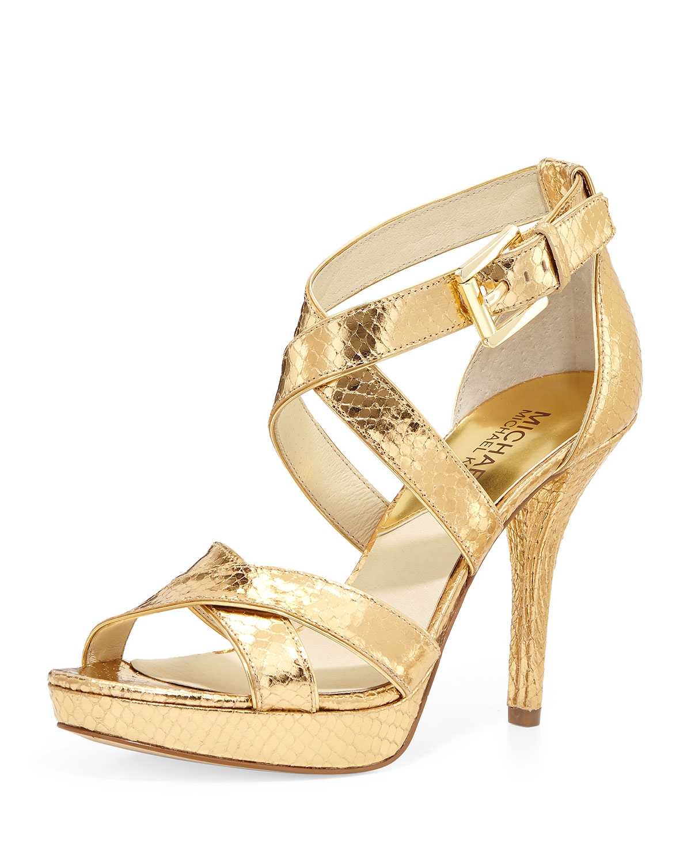 Evie Metallic Snake-Print Sandal, Gold