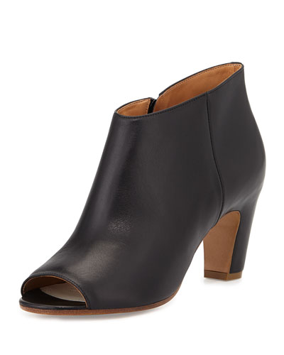 Leather Open-Toe Curved-Heel Bootie, Black