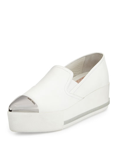 Metallic Cap-Toe Skate Sneaker, White (Bianco)