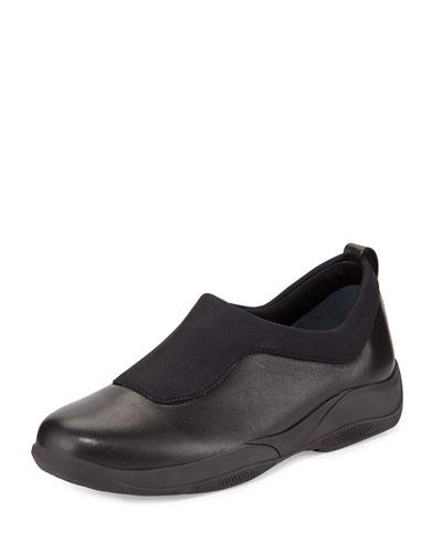 Gored Vitello Leather Sneaker, Black (Nero)