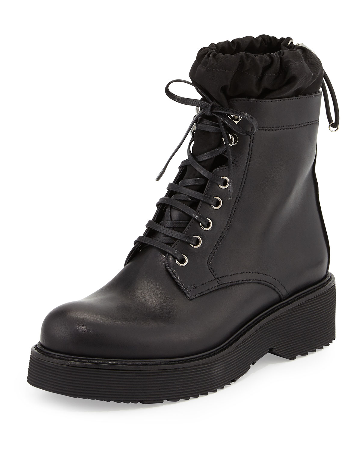 Nylon-Lined Leather Combat Boot, Black