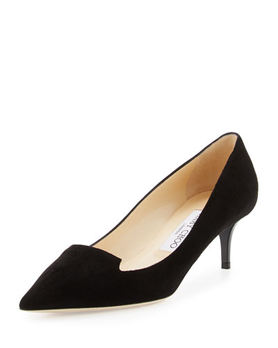 Allure Suede Kitten-Heel Pump, Black