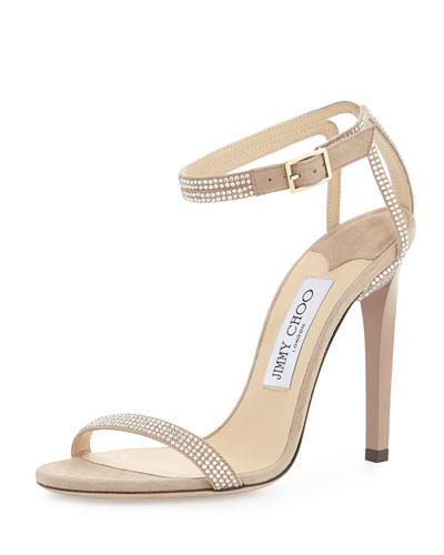 Daisy Crystallized Ankle-Wrap Sandal, Nude