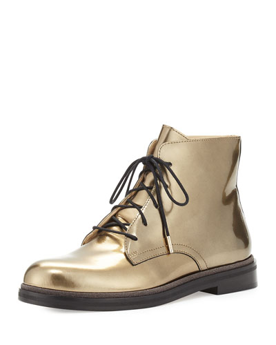 Burke Mirror Leather Lace-Up Boot, Gold