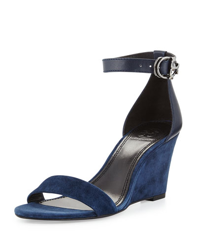 Thames Suede Wedge Sandal, Bright Navy