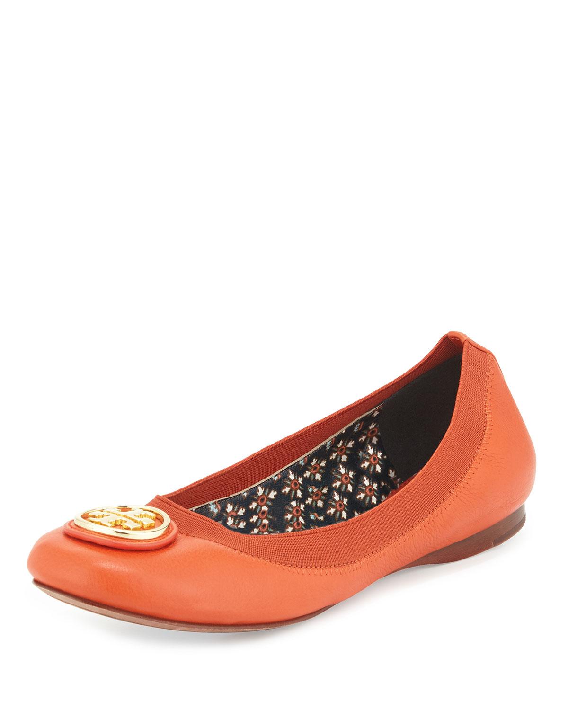 Caroline Leather Ballet Flat, Equestrian Orange