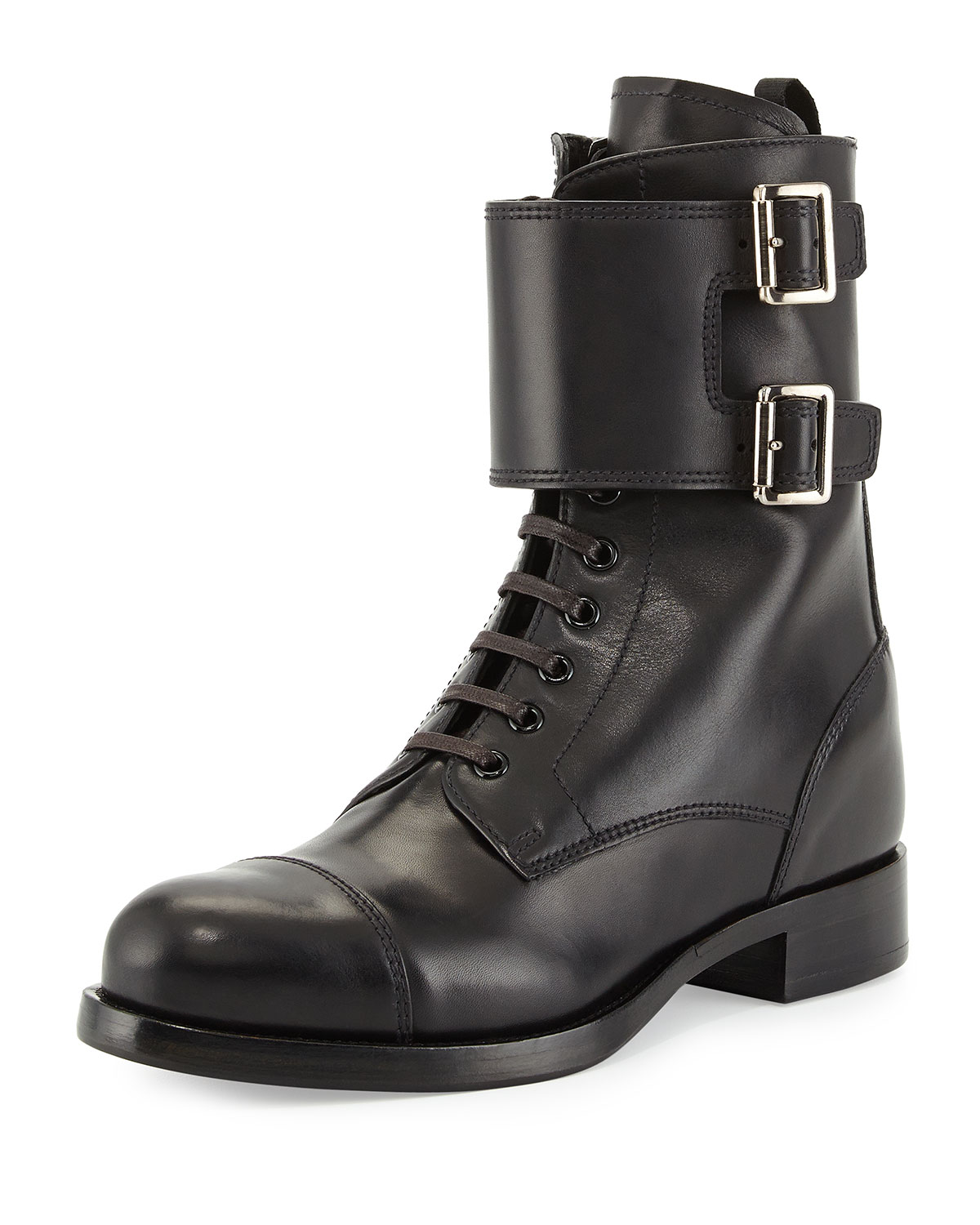 Leather Lace-Up Combat Boot, Black (Nero)