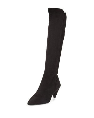 Suede Low-Heel Knee Boot, Black (Nero)