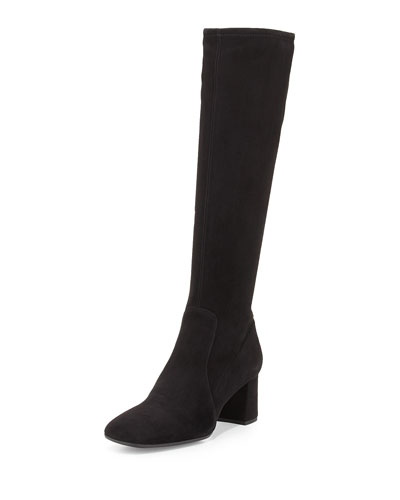 Suede Square-Toe Knee Boot, Black (Nero)