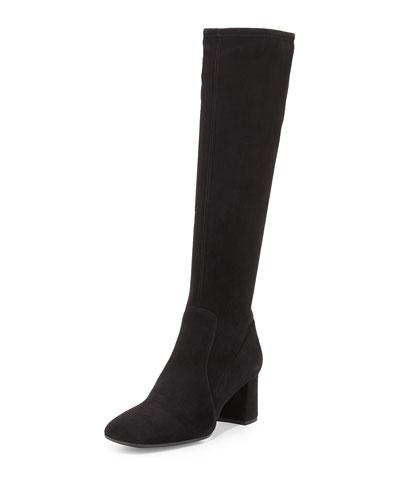 Suede Square-Toe Knee Boot, Black (Nero)