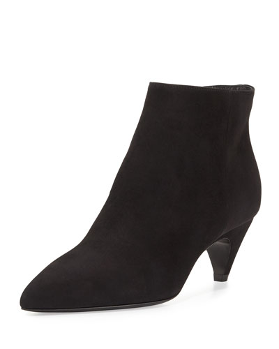Pointed-Toe Low-Heel Ankle Boot, Nero