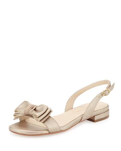 Inger Low-Heel Bow Sandal, Camel/Gold
