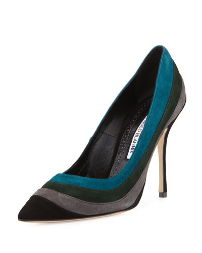 Picatri Colorblock Suede Pump, Black