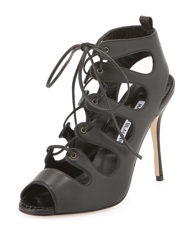 Taala Leather Lace-Up Sandal, Black
