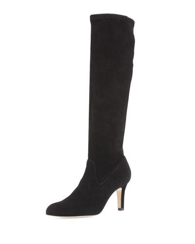 Pascaputre Suede Knee Boot, Black