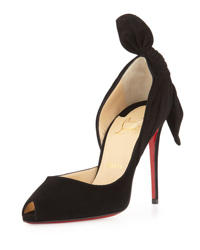 Barbara Half-d'Orsay Knot-Heel Red Sole Pump