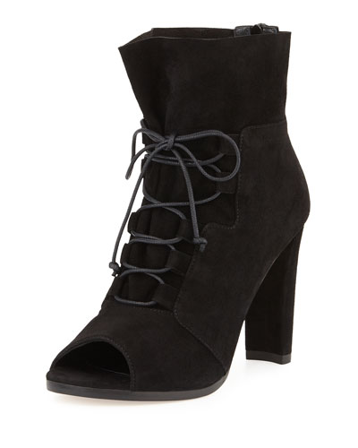 Bound Lace-Up Peep-Toe Bootie, Black
