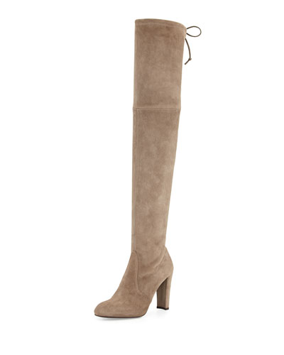 Highland Suede Over-The-Knee Boot, Praline