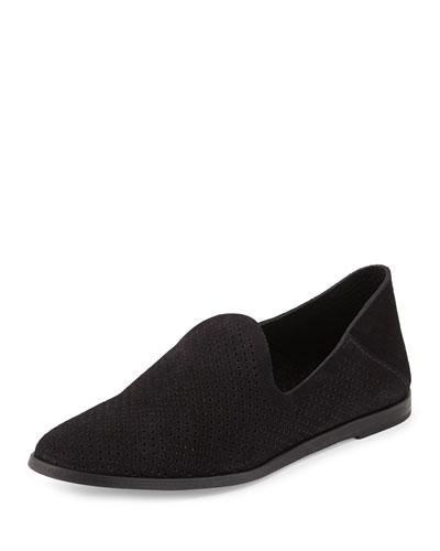 Yara Perforated Suede Loafer, Black